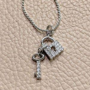 Swarovski Lock and Key Silver Necklace